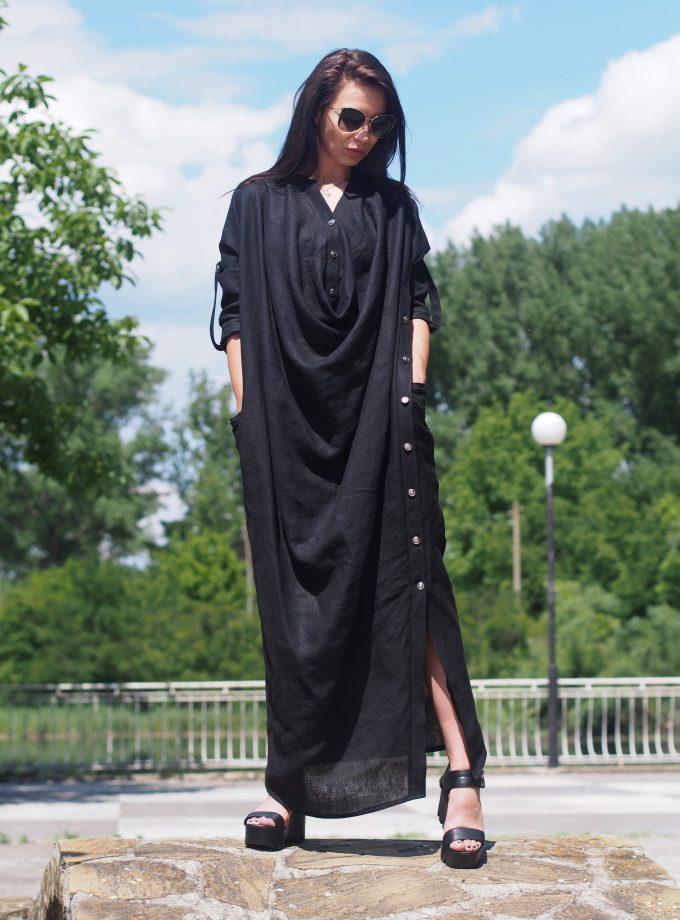 Women maxi dress, Long maxi linen dress, Summer maxi dress, Black long linen dress,Summer maxi linen dress,Pus size dress,Women linen dress