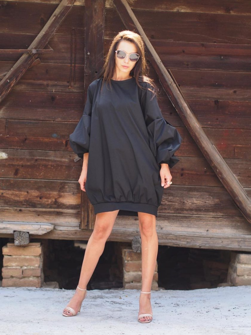 Women maxi dress,Black maxi dress, Long sleeve dress,Extravagant maxi dress,Loose dress,Oversize dress,Plus size dress