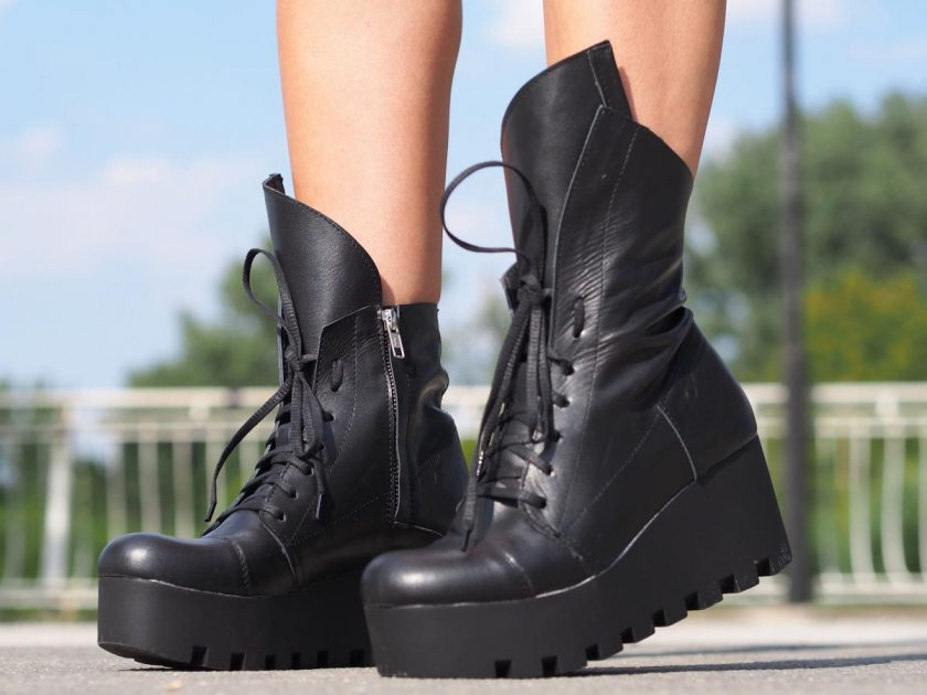 Black Genuine leather Boots,Women genuine leather boots,Women leather boots,Black winter boots,Platform Leather boots,Must have wedges