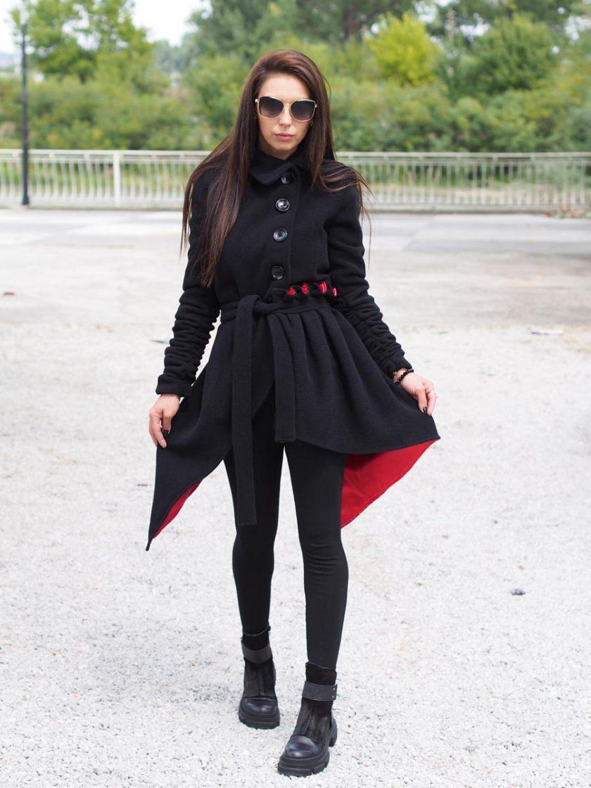 Extravagant wool asymmetric coat/Women wool coat/Elegant Winter Coat/Black asymmetric coat/Black long coat /long wool coat/Stylish Long Coat