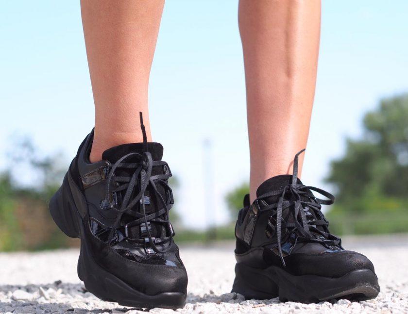 Women genuine leather sneakers,Black genuine leather sneakers,Extravagant black leather sneakers