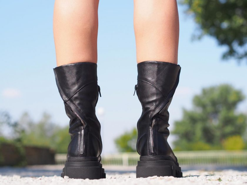 Women genuine leather boots,Black genuine leather boots,Extravagant black leather boots